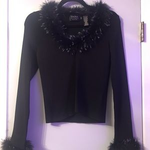 Black Sweater with Turkey and Ostrich Feathers